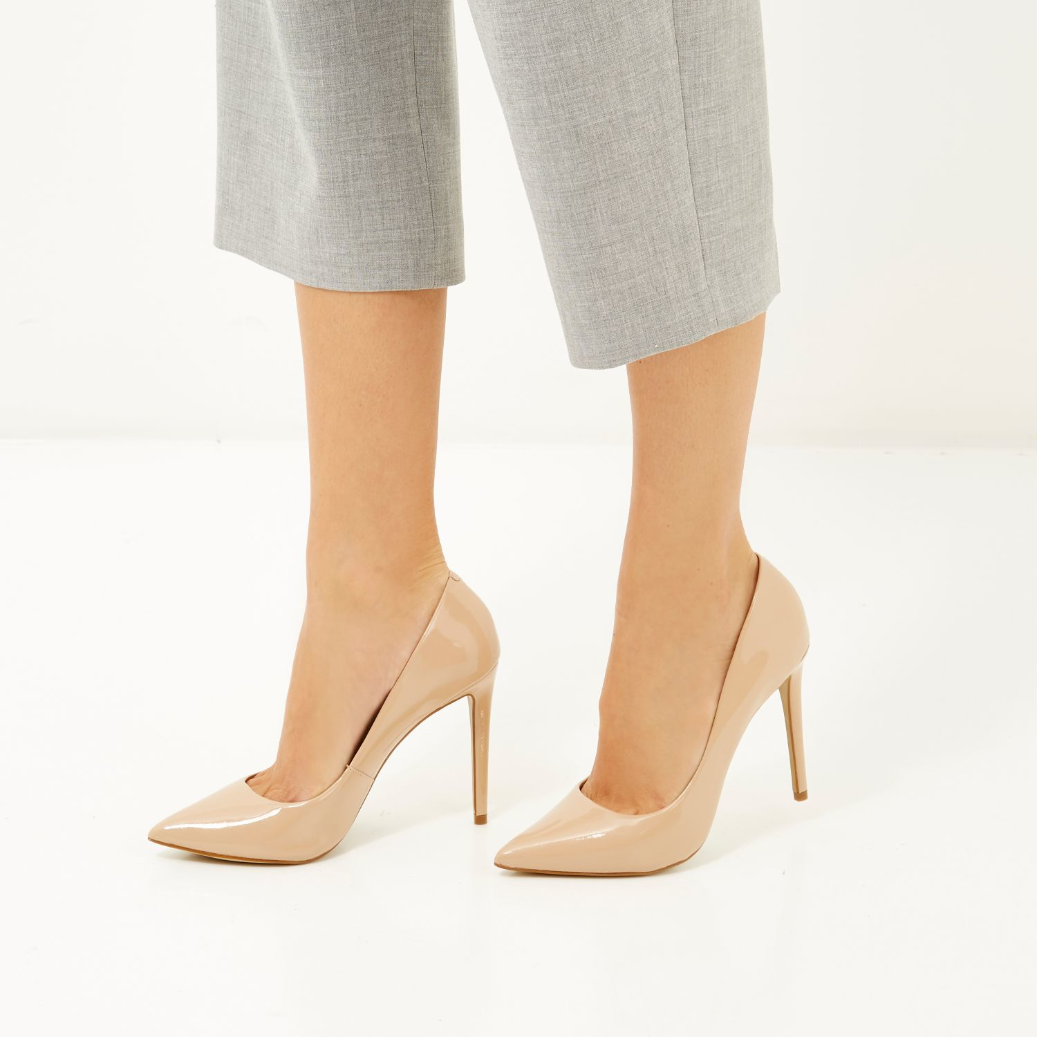 cc1506efa33 River Island Nude Pink Patent Leather Court Shoes