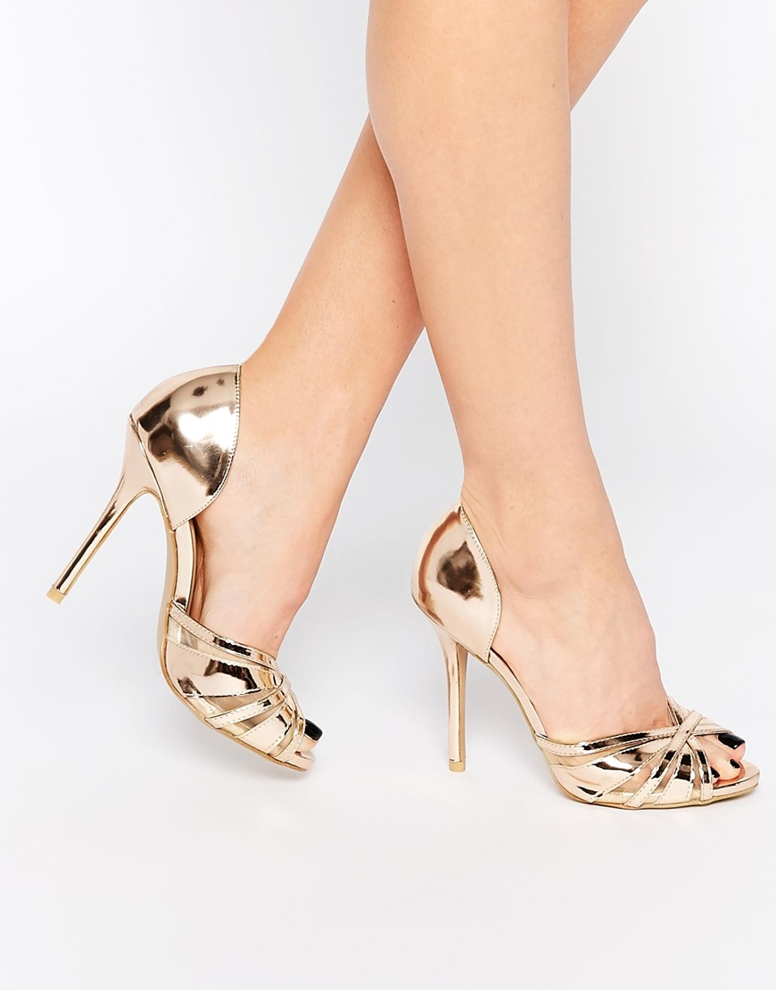 52cd13ec7e4 Lyst - True Decadence Rose Gold Metallic Heeled Peep Toe Sandals in ...
