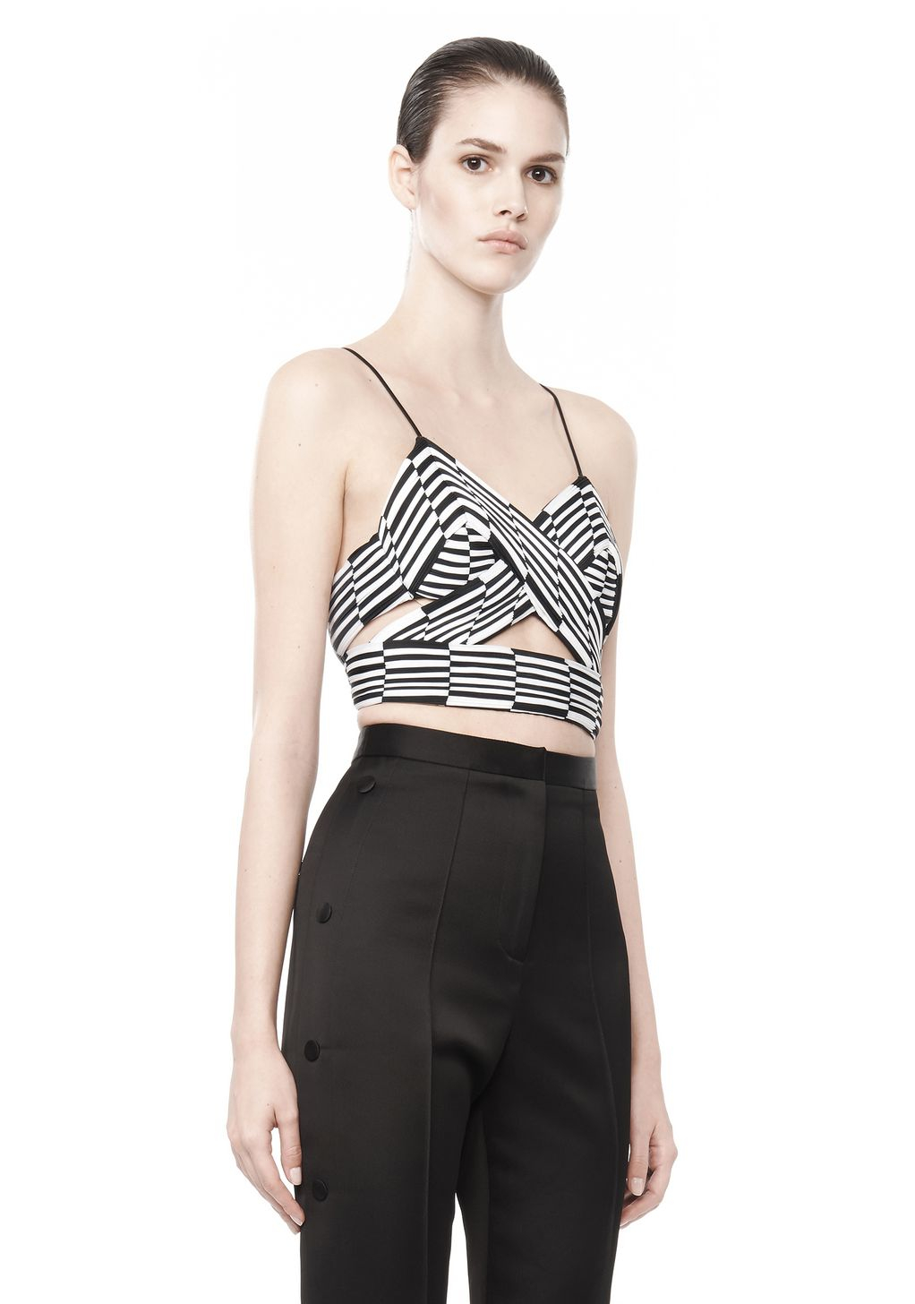 Alexander Wang Pleated Triangle Top in Black & White (Black)
