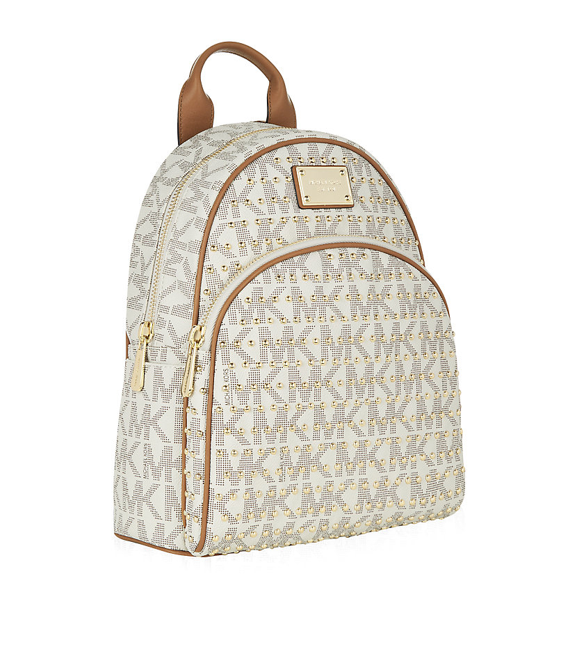 21bef69e3612 MICHAEL Michael Kors Small Jet Set Studded Backpack in Natural - Lyst
