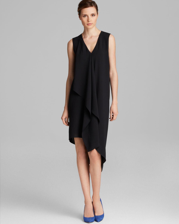 Asymmetric Drape Dress: Adrianna Papell Asymmetric Drape Front Dress In Black