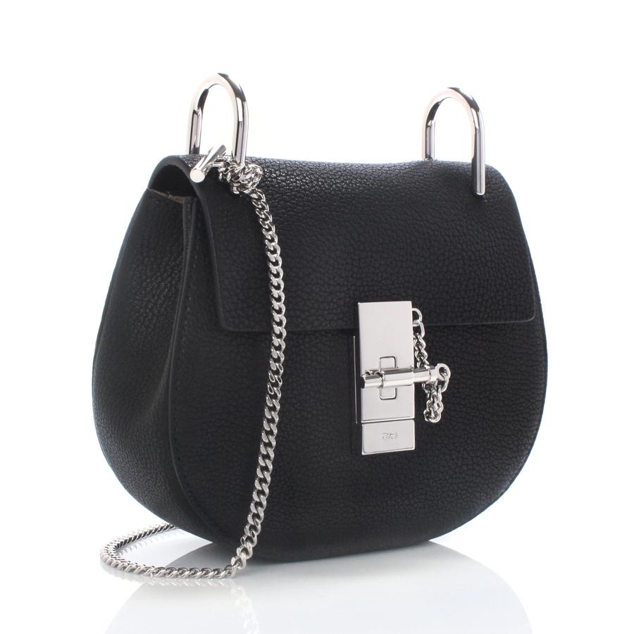 chlo drew mini bag in black small grain calfskin in black. Black Bedroom Furniture Sets. Home Design Ideas