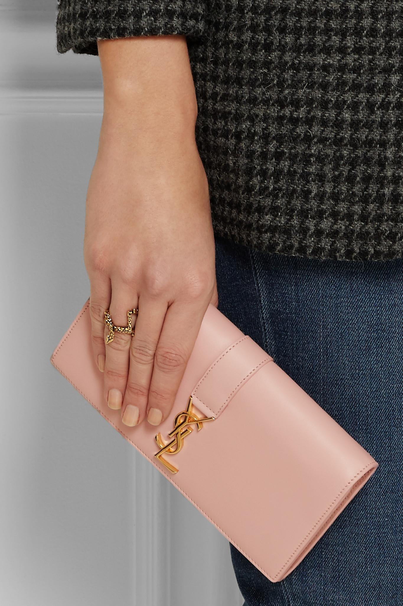 0346f60ba6 Saint Laurent Ysl Line Leather Wallet in Pink - Lyst