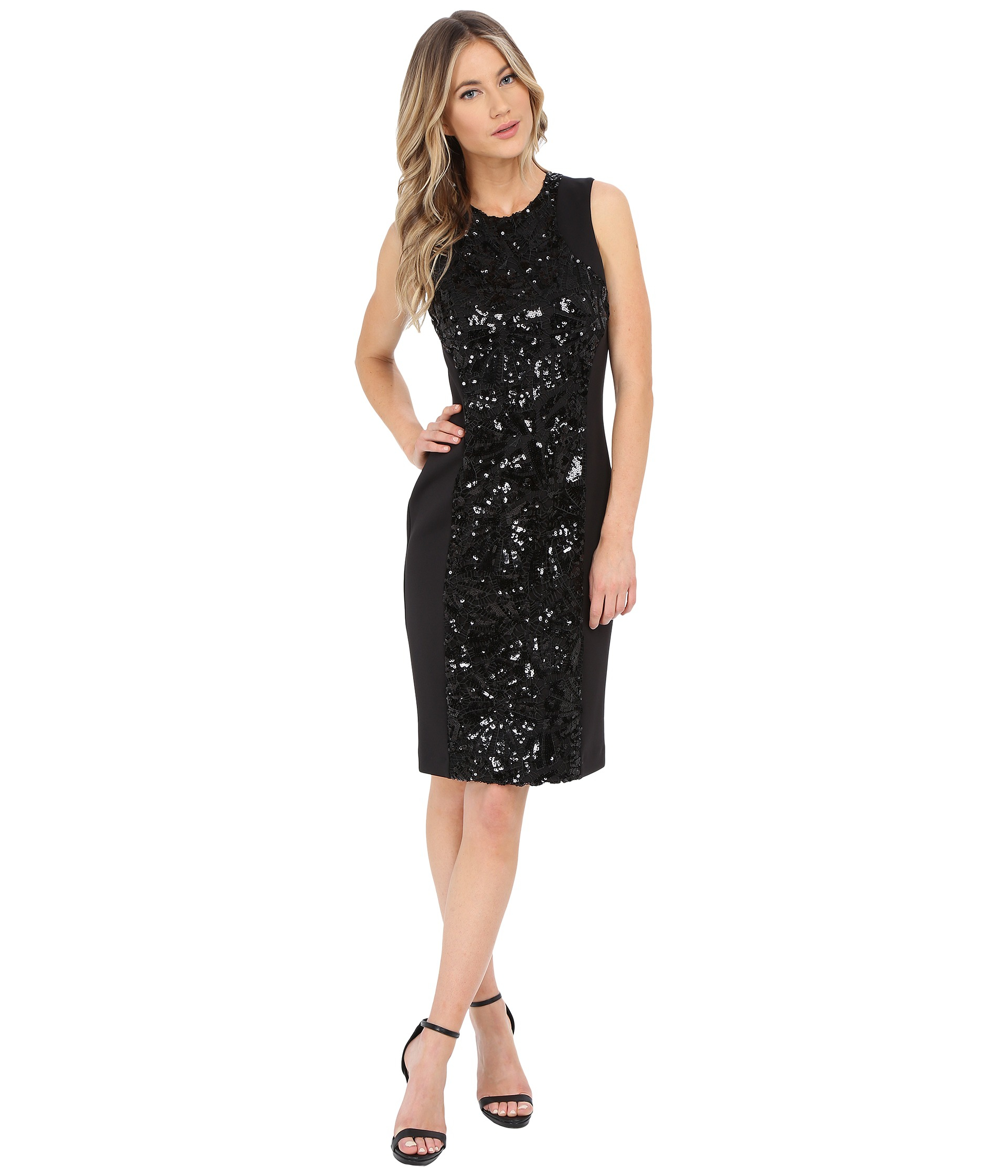 c95b3ba902ef7 Calvin Klein Sheath With Sequin Center Panel Dress in Black - Lyst