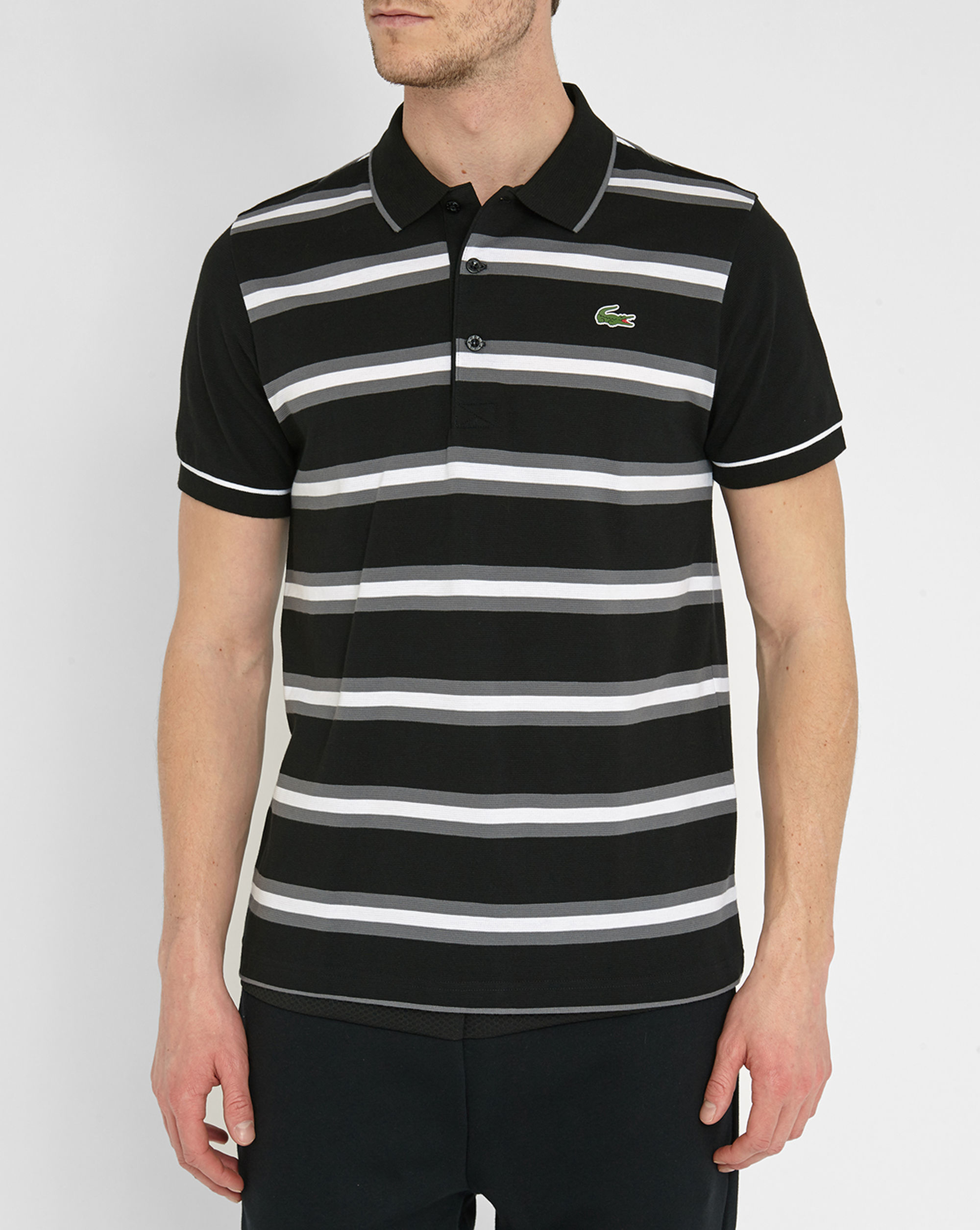 Lacoste black grey white striped sport piqu polo shirt in for Lacoste stripe pique polo shirt