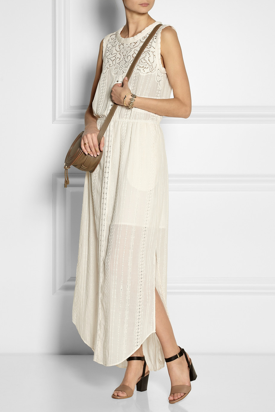 Lyst Sea Lacepaneled Broderie Anglaise Cotton Maxi Dress