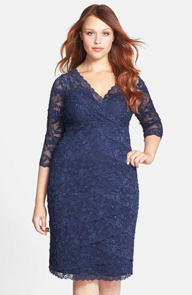 Marina embellished three quarter sleeve lace dress in blue for Lace three quarter sleeve wedding dress
