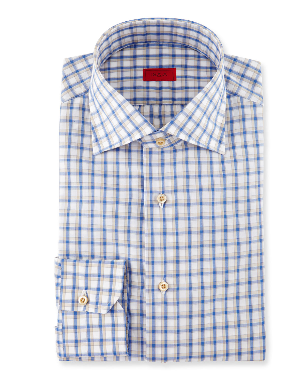Isaia box check dress shirt in blue for men lyst for Blue check dress shirt