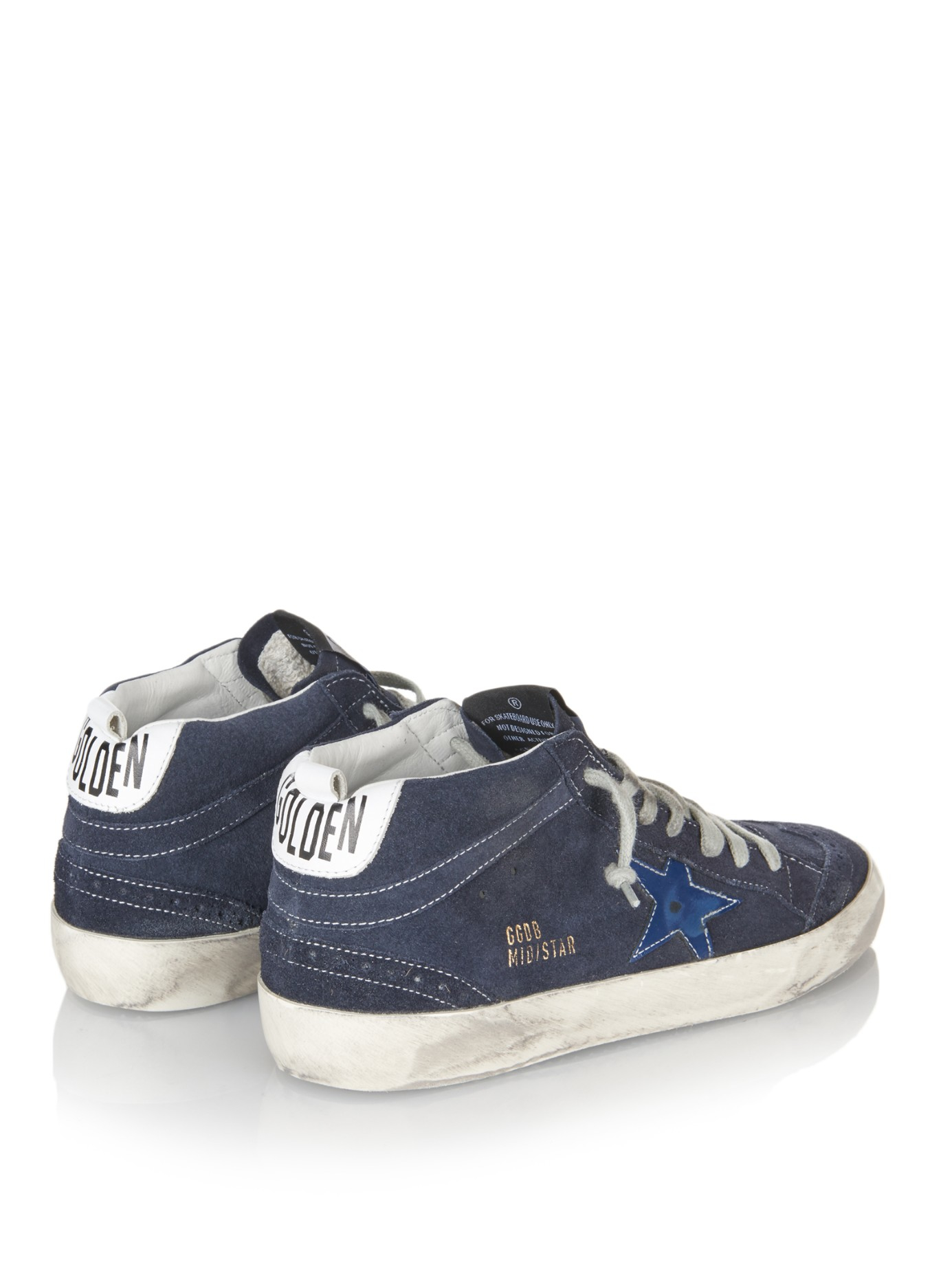 c14c7464b9dd Lyst - Golden Goose Deluxe Brand Mid Star Distressed-Suede Sneakers ...