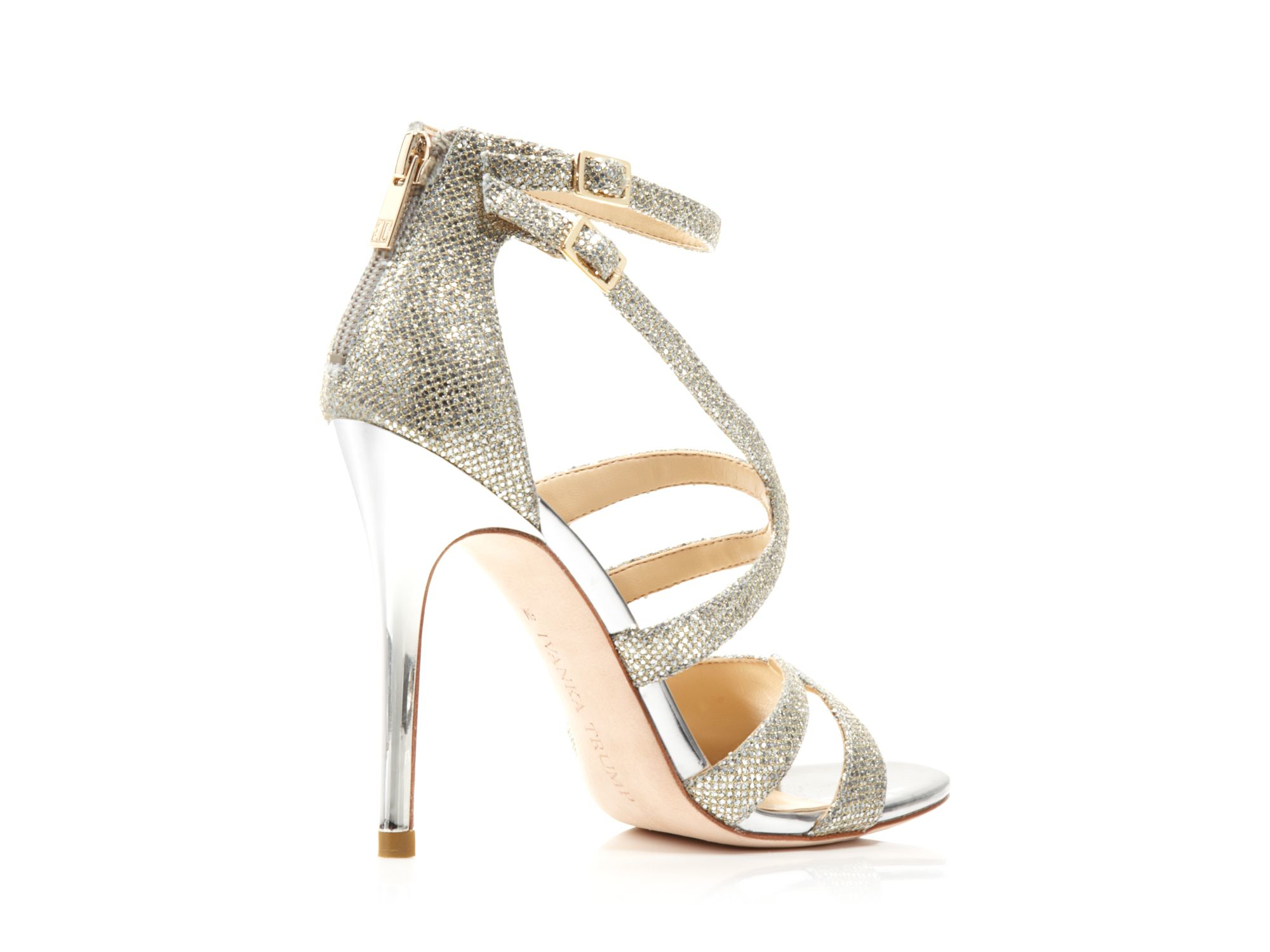 Ivanka trump Strappy High Heel Evening Sandals in Metallic | Lyst