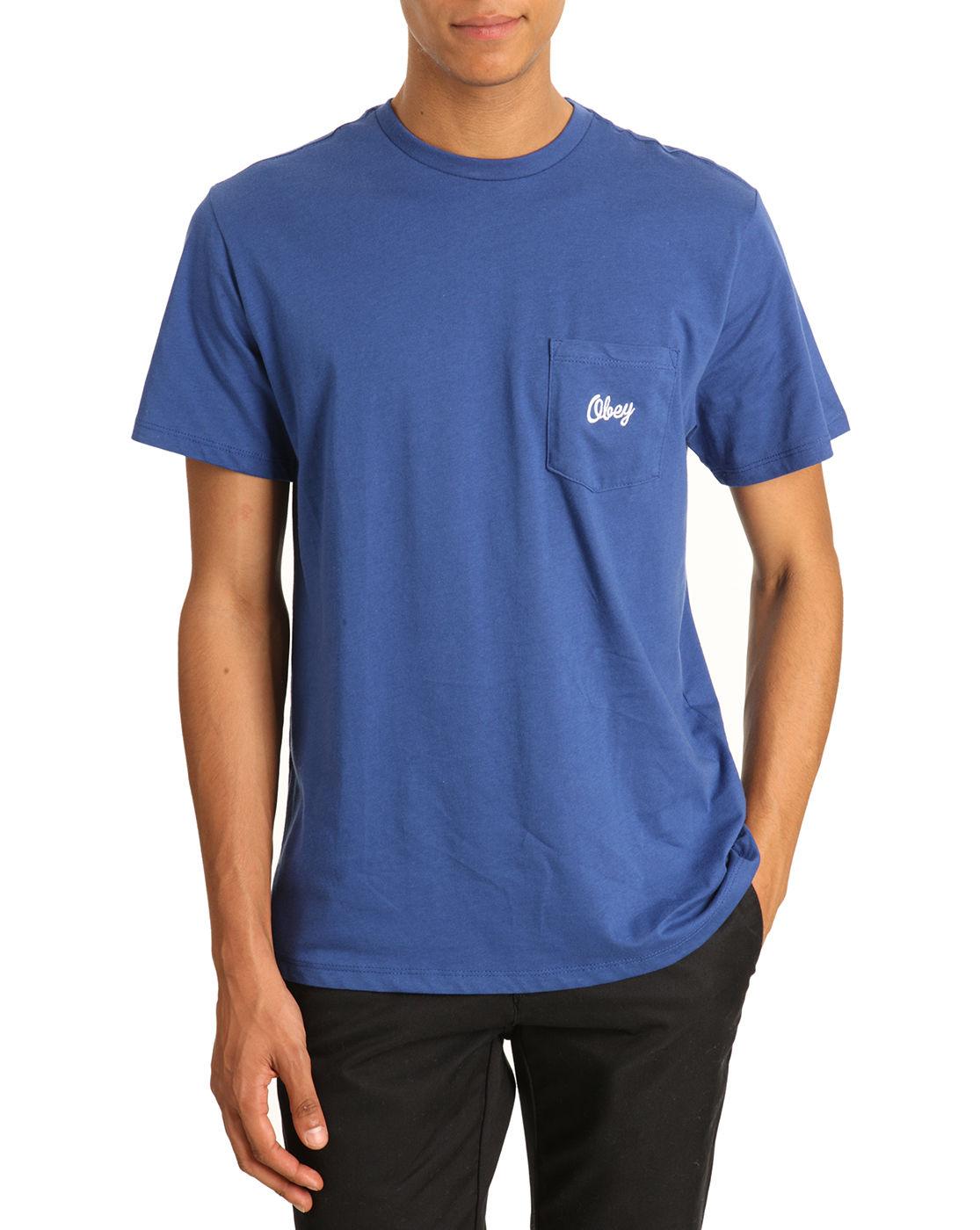 obey follen t shirt navy blue pocket in blue for men navy. Black Bedroom Furniture Sets. Home Design Ideas