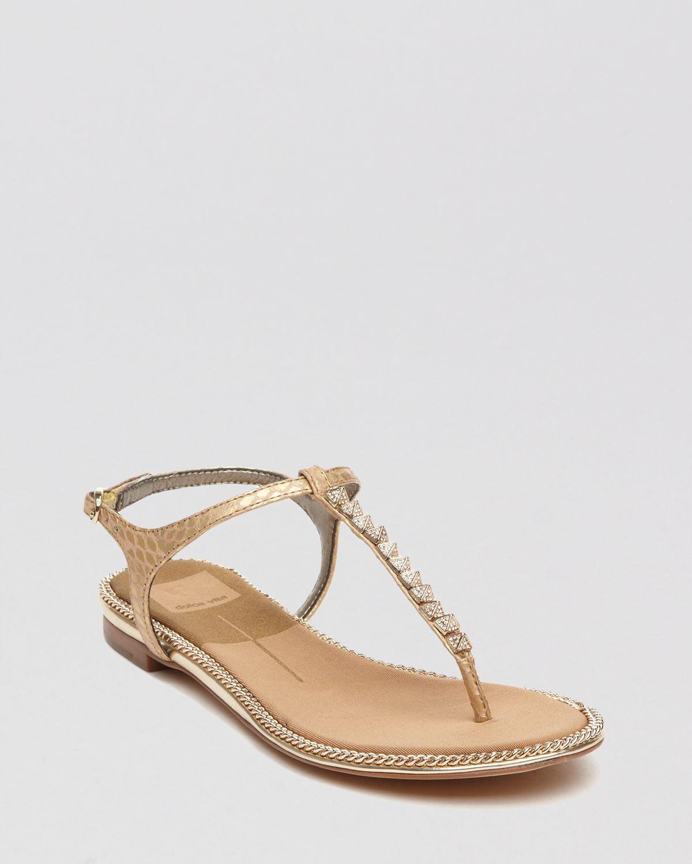 9f6bb7599ba Lyst - Dolce Vita Flat Thong Sandals Ensley Studded T Strap in Metallic