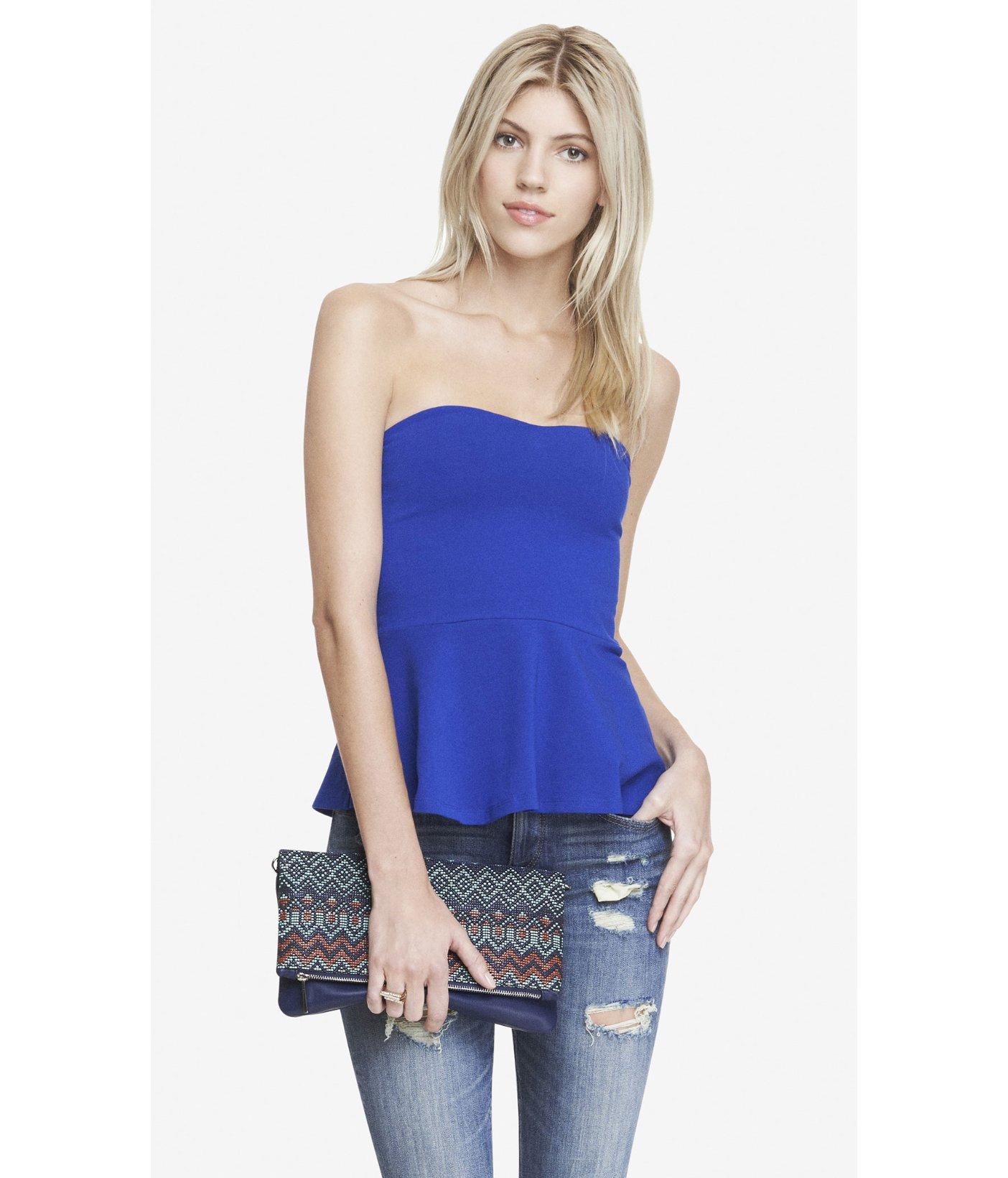 Cute Strapless Top - Navy Blue Top - Peplum Top - $36.00 |Blue Tube Top Dress