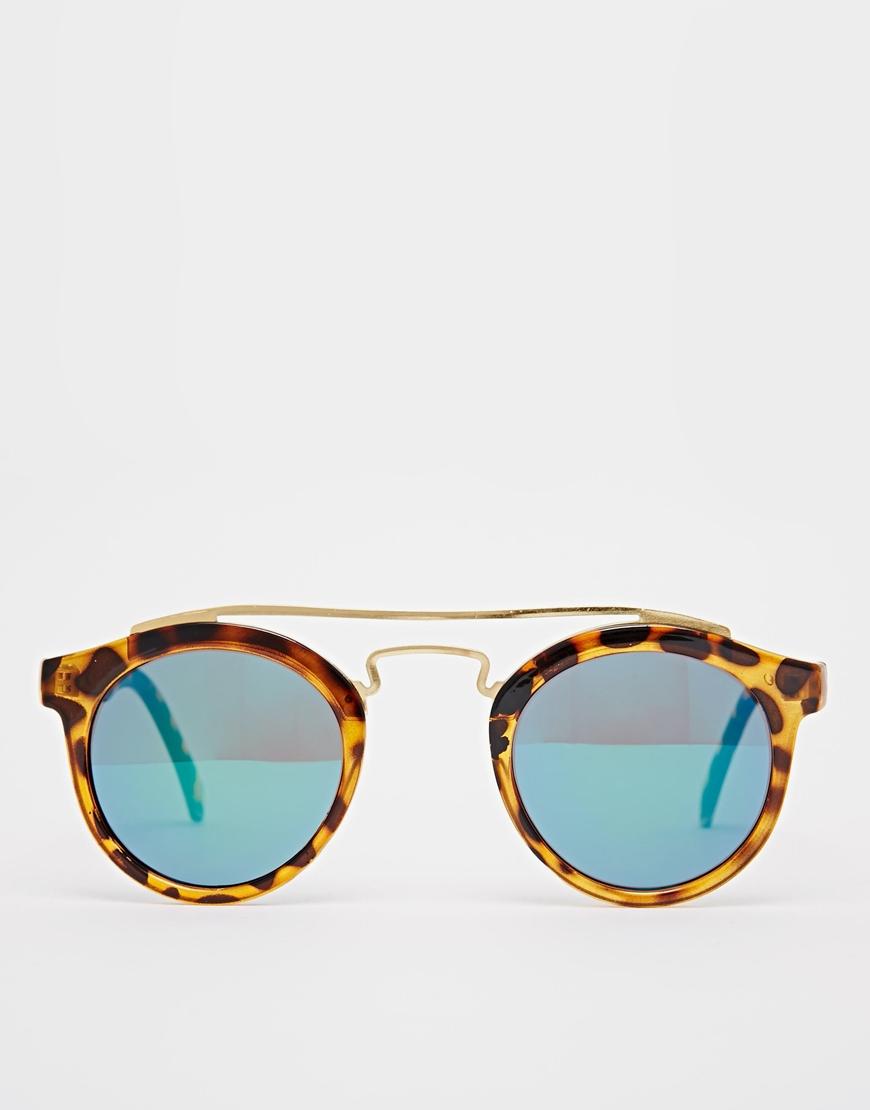 0a8d578d369 Lyst - ASOS Round Sunglasses With Metal Bridge High Bar   Flash Lens ...