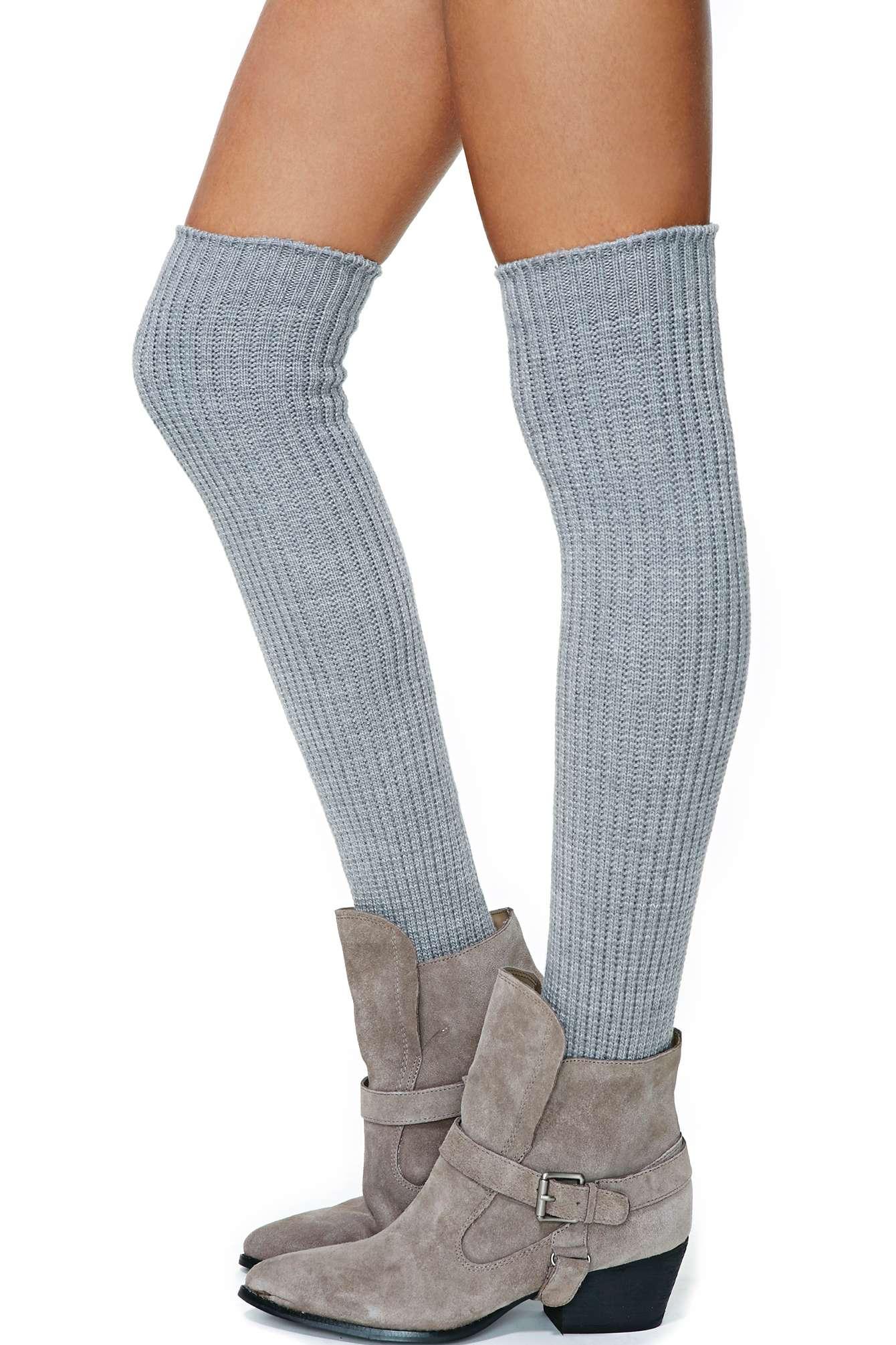 Nasty Gal Cloudy Skies Thigh High Socks in Gray | Lyst