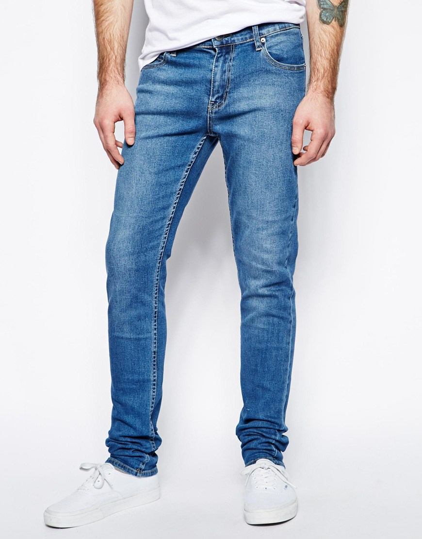 cheap monday jeans tight skinny fit in base dark blue in. Black Bedroom Furniture Sets. Home Design Ideas
