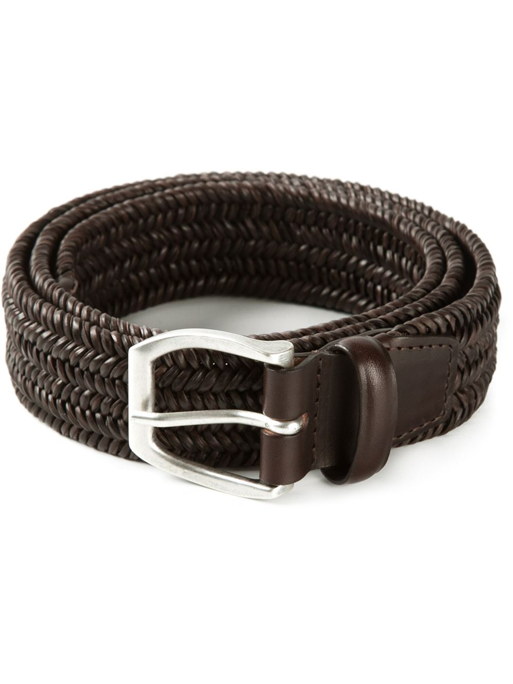 orciani woven buckled belt in brown for lyst
