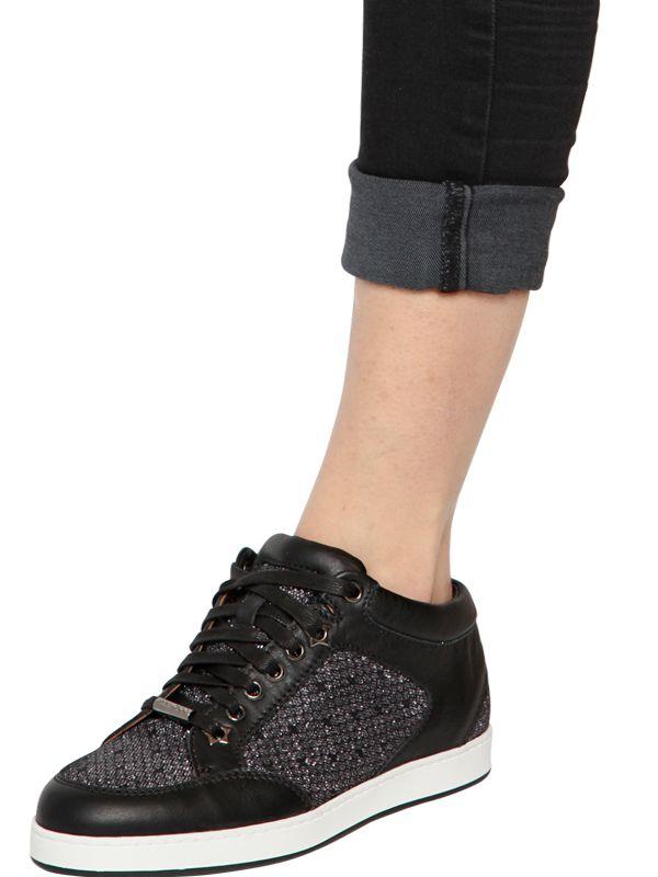 8a44db0198b7 Jimmy Choo Miami Glittered Leather Sneakers in Black - Lyst