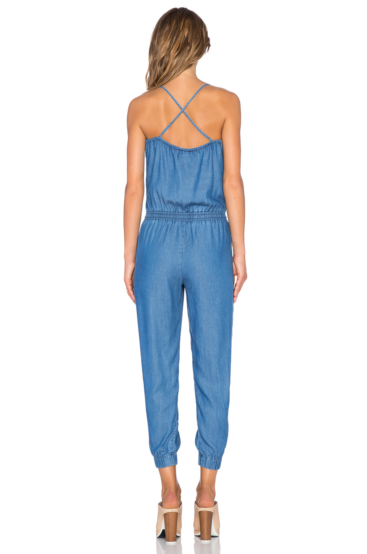 Splendid Sleeveless Stretch Denim Jumpsuit In Blue Lyst