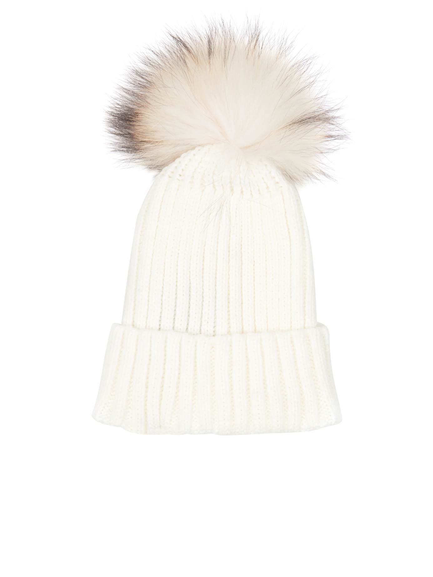 Lyst - Yves Salomon Fur-pompom Knit Beanie Hat in White 0ebec822dab