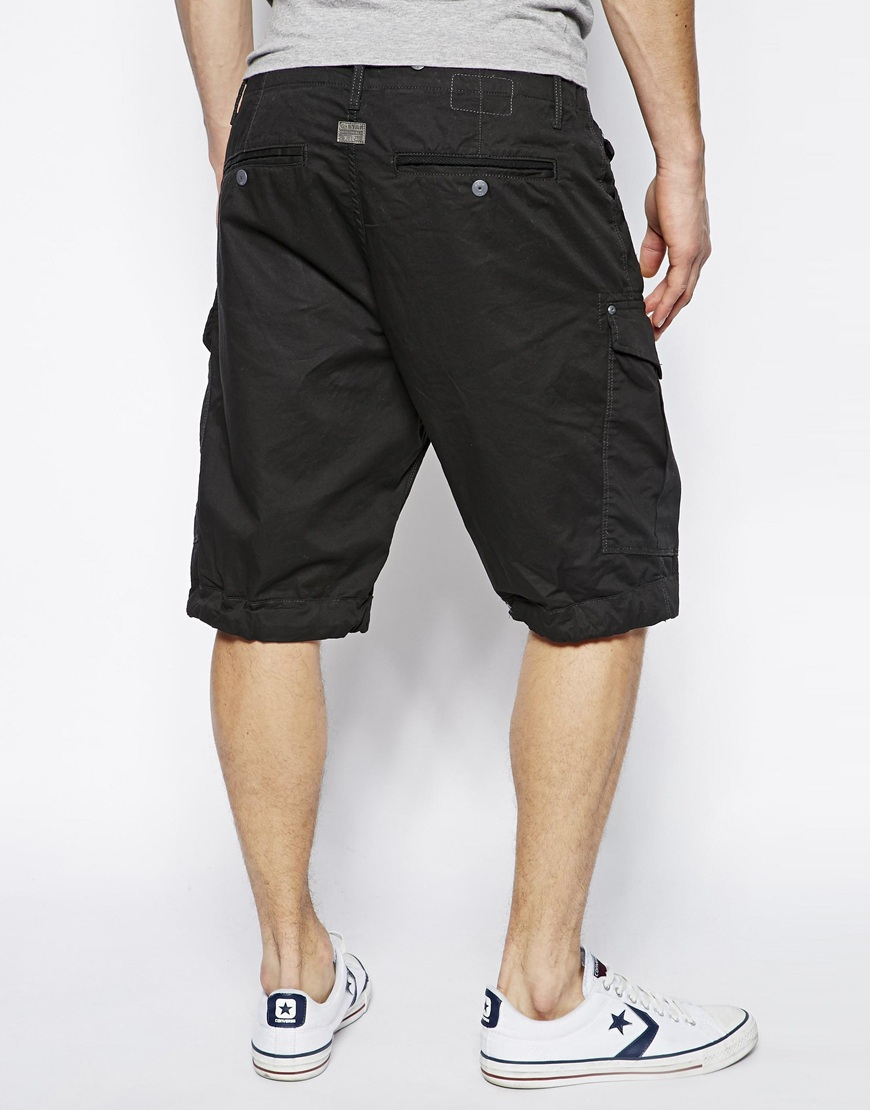 star raw shorts rov fie loo in black for men lyst. Black Bedroom Furniture Sets. Home Design Ideas