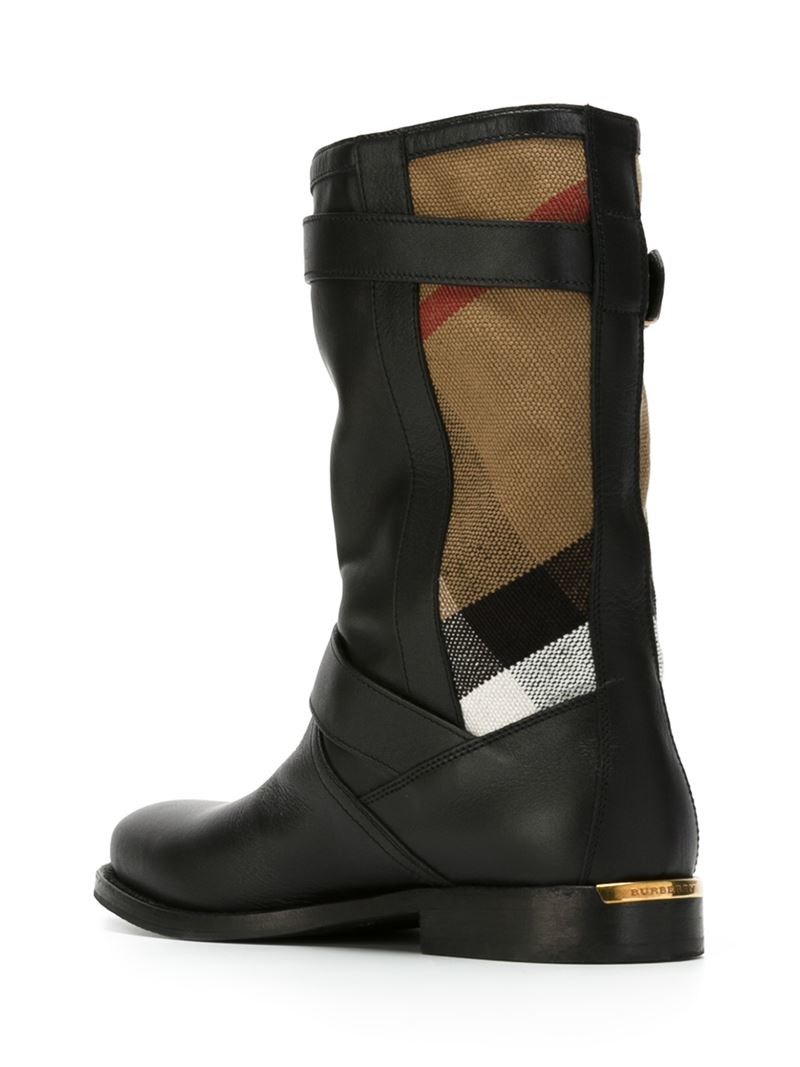Burberry Cotton Checked Panel Boots in Black