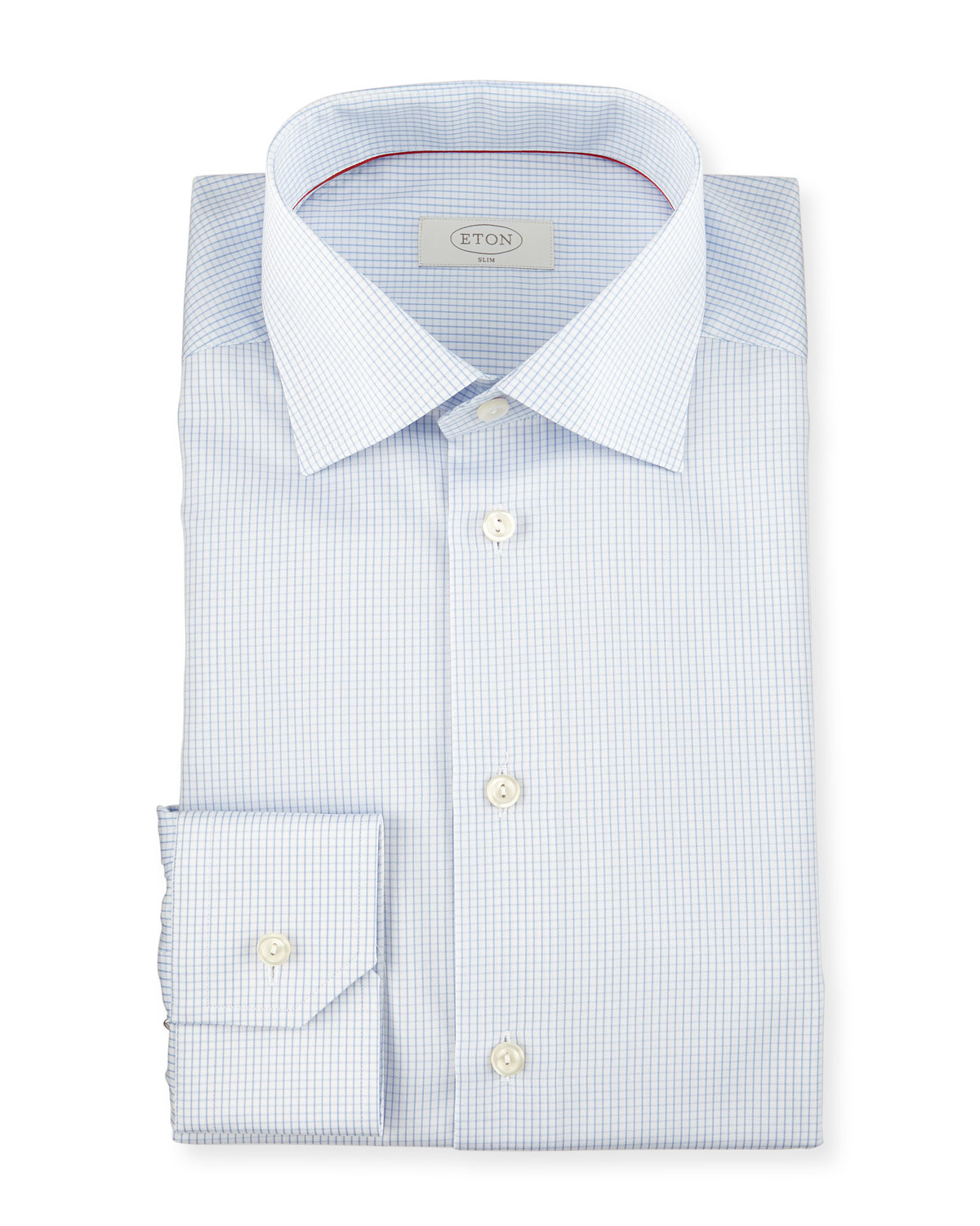 Eton of sweden slim fit graph check woven dress shirt in for Blue check dress shirt