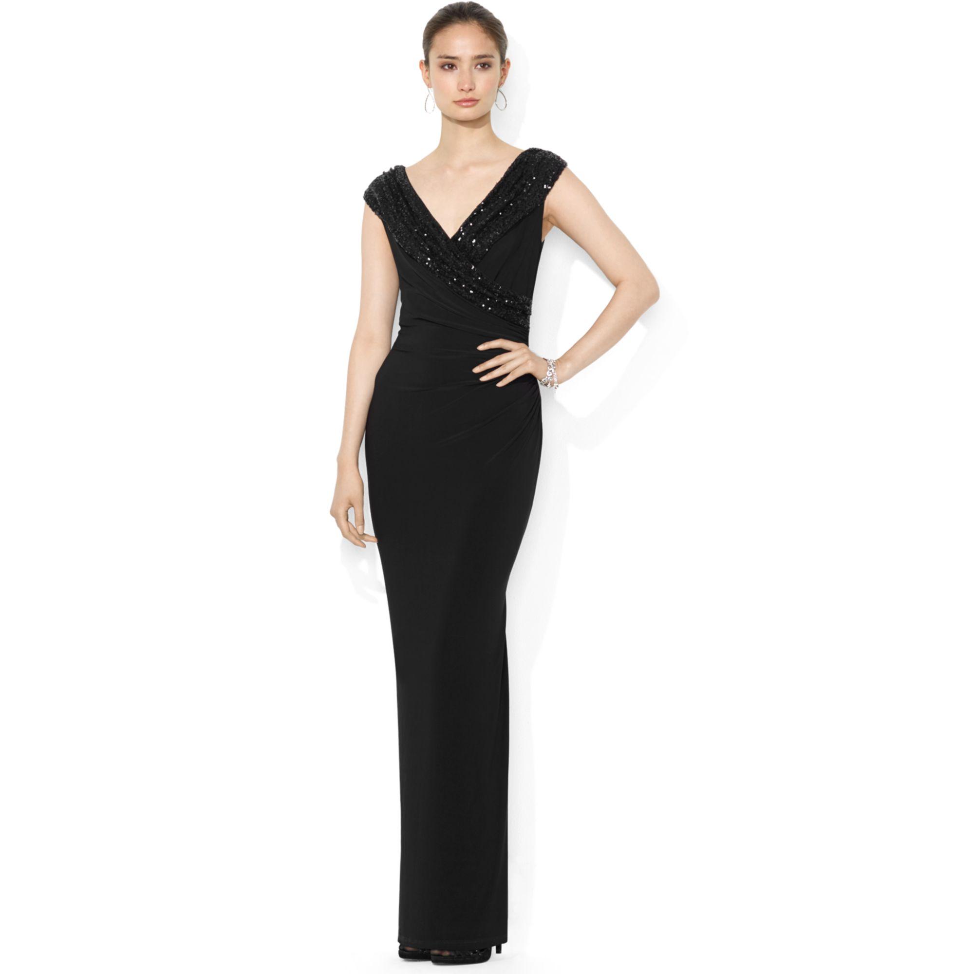 lauren by ralph lauren cap sleeve sequin mesh gown dress. Black Bedroom Furniture Sets. Home Design Ideas