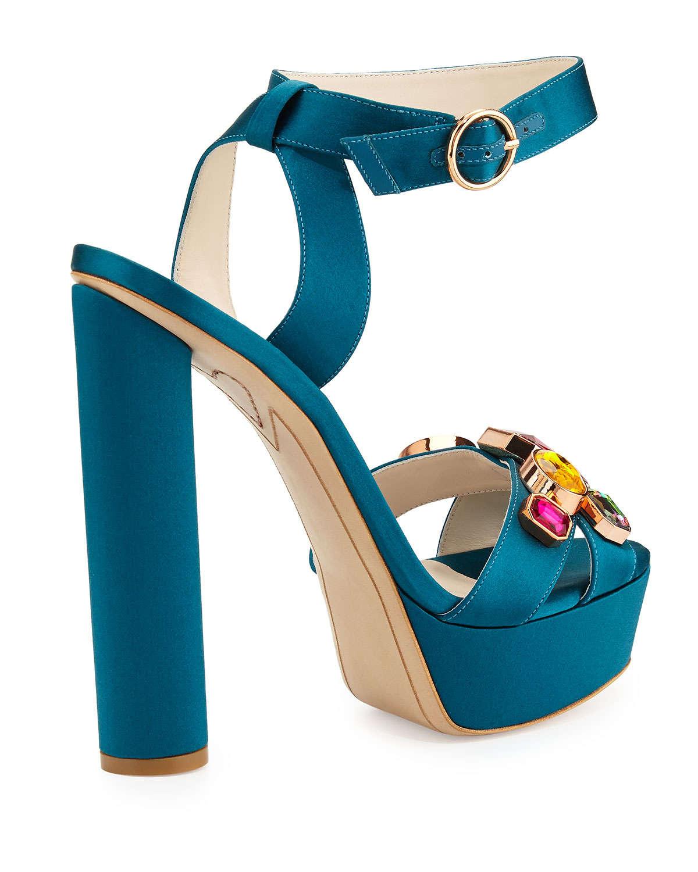 2c2a02949f1 Lyst - Sophia Webster Amanda Gem Platform Sandal in Blue
