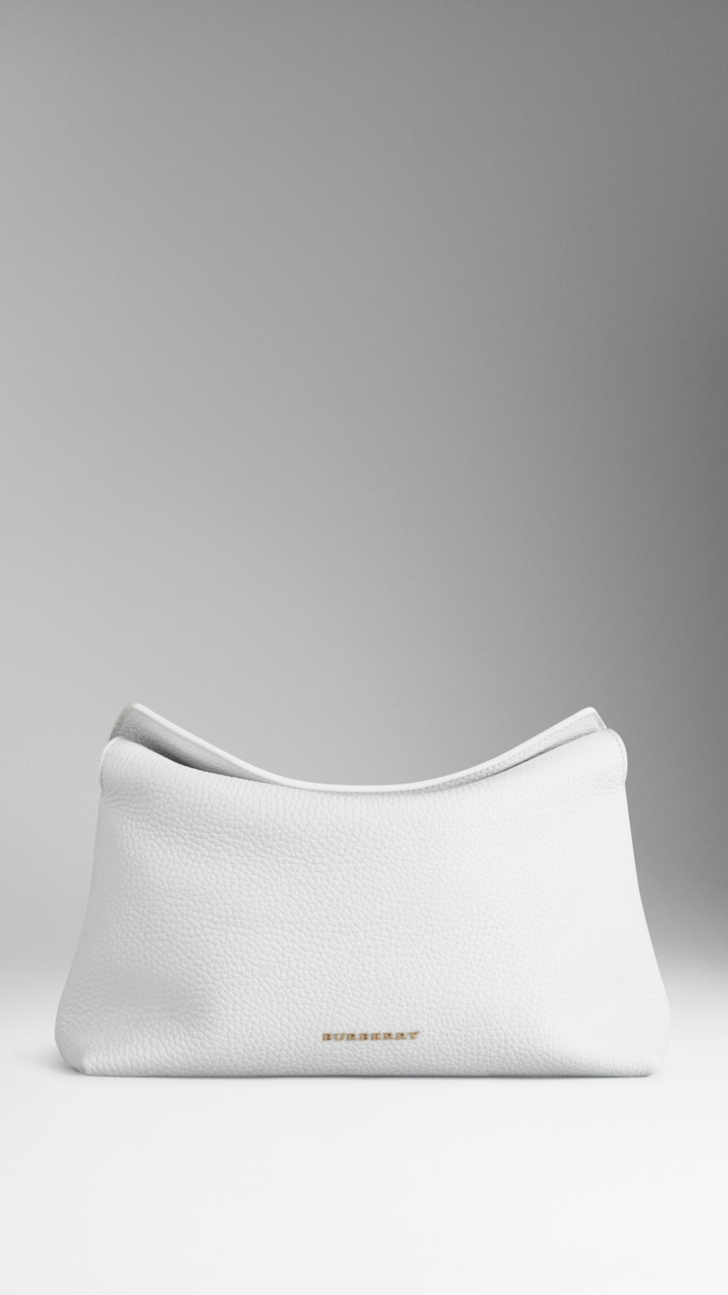 Lyst Burberry Grainy Leather Clutch Bag In White