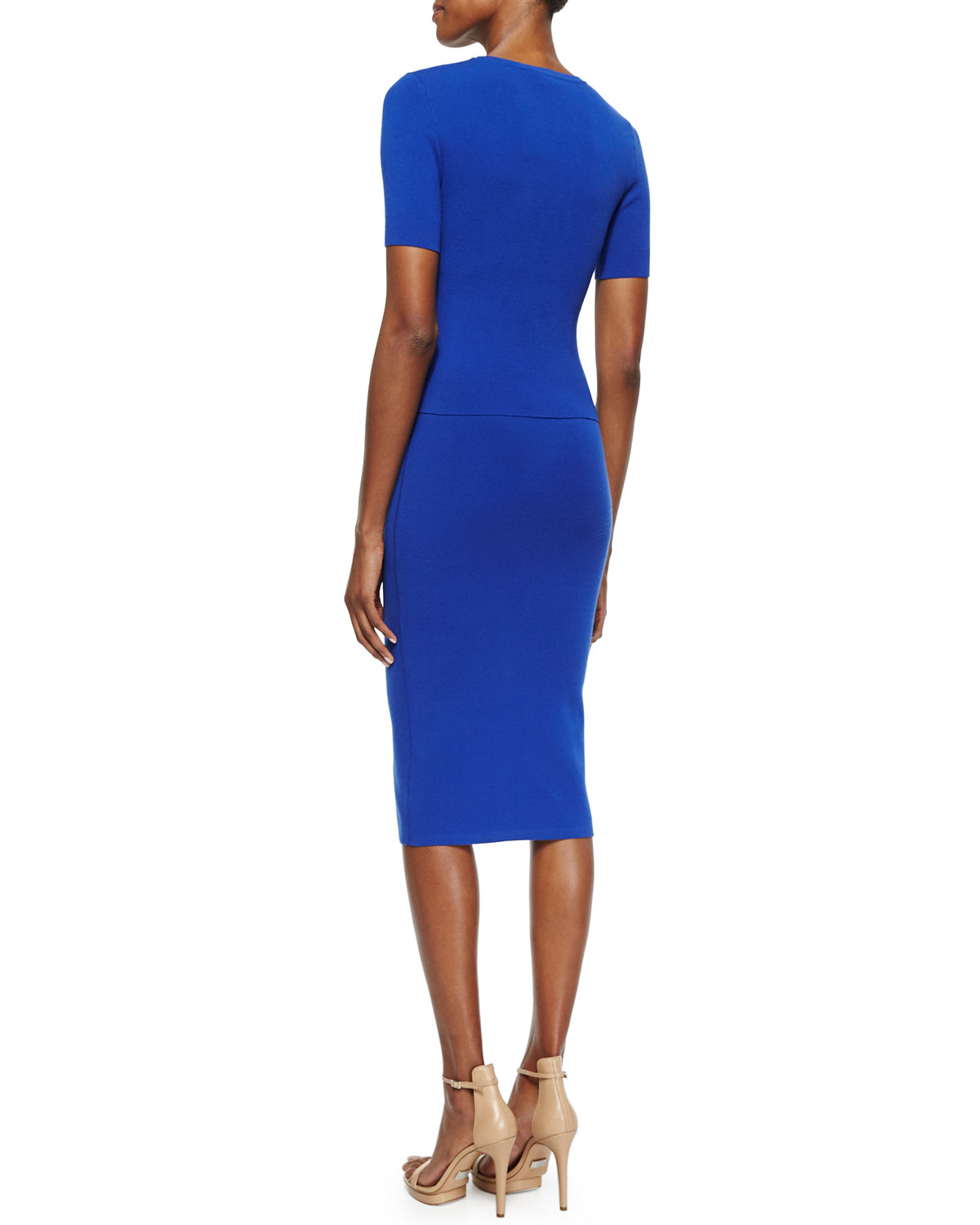 michael kors stretch knit pencil skirt in blue lyst