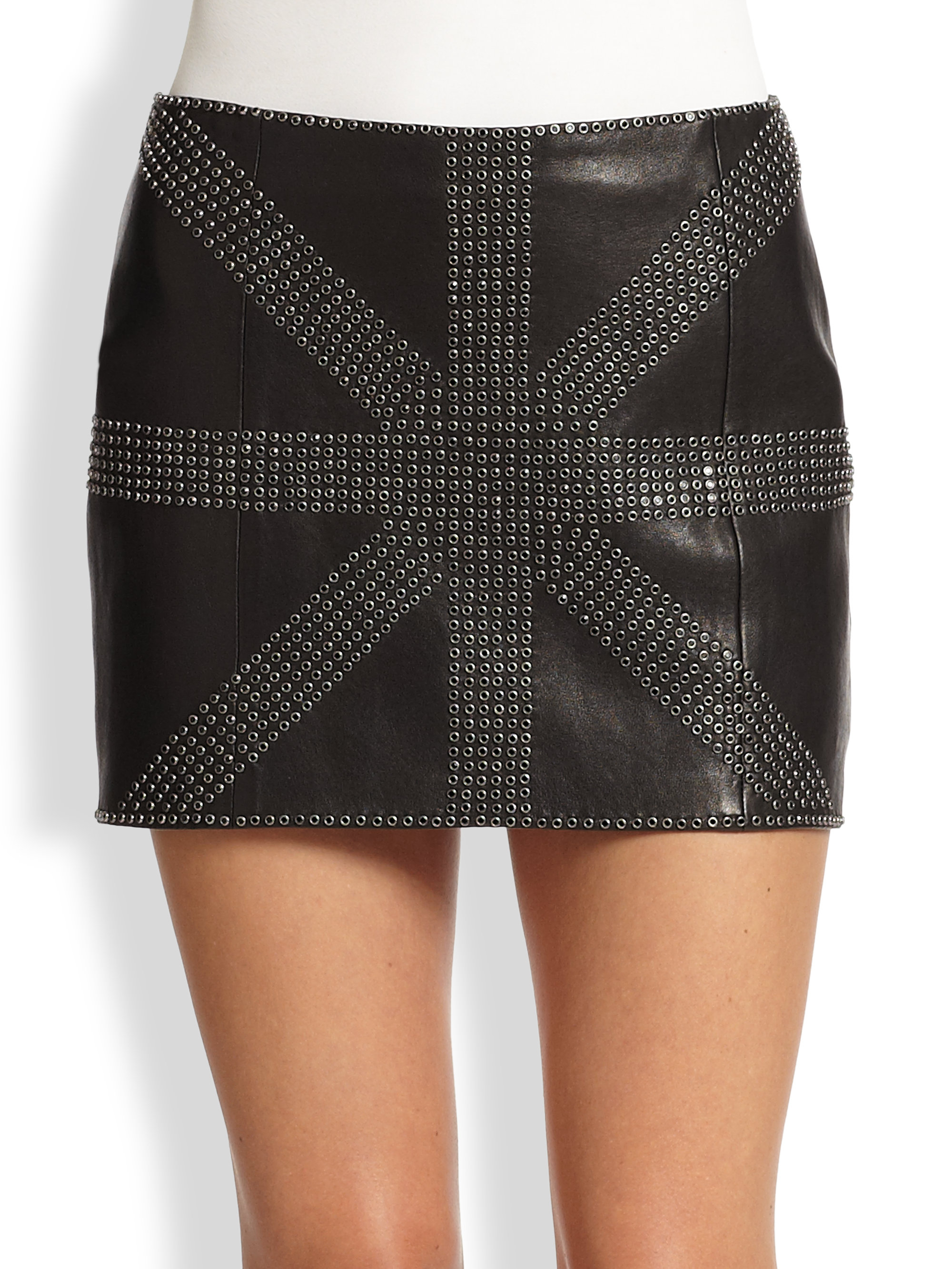 haute hippie embellished leather mini skirt in black lyst