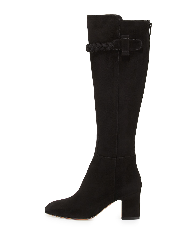 valentino stretch suede block heel booties in black lyst