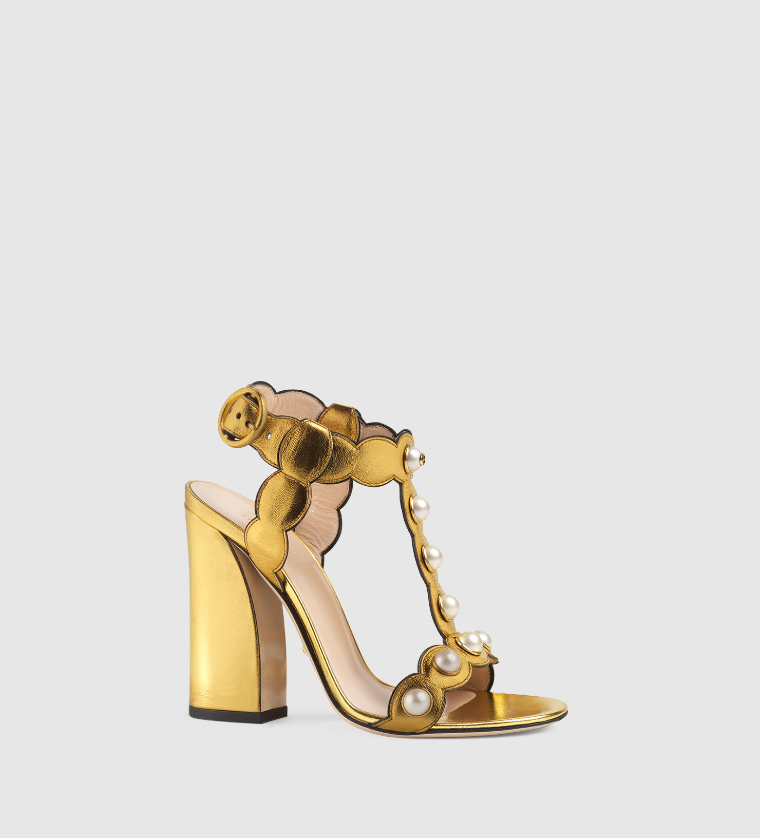 64594c584127f8 Gucci Willow Leather T-strap Sandal in Metallic - Lyst