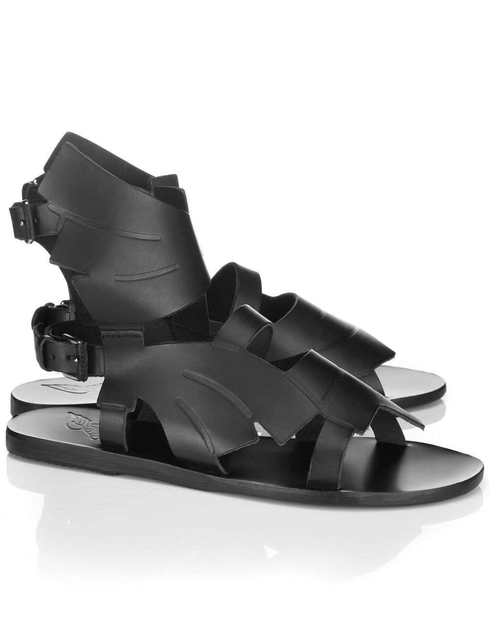 Ancient greek sandals Black Leather Banana Mid Sandals in Black | Lyst
