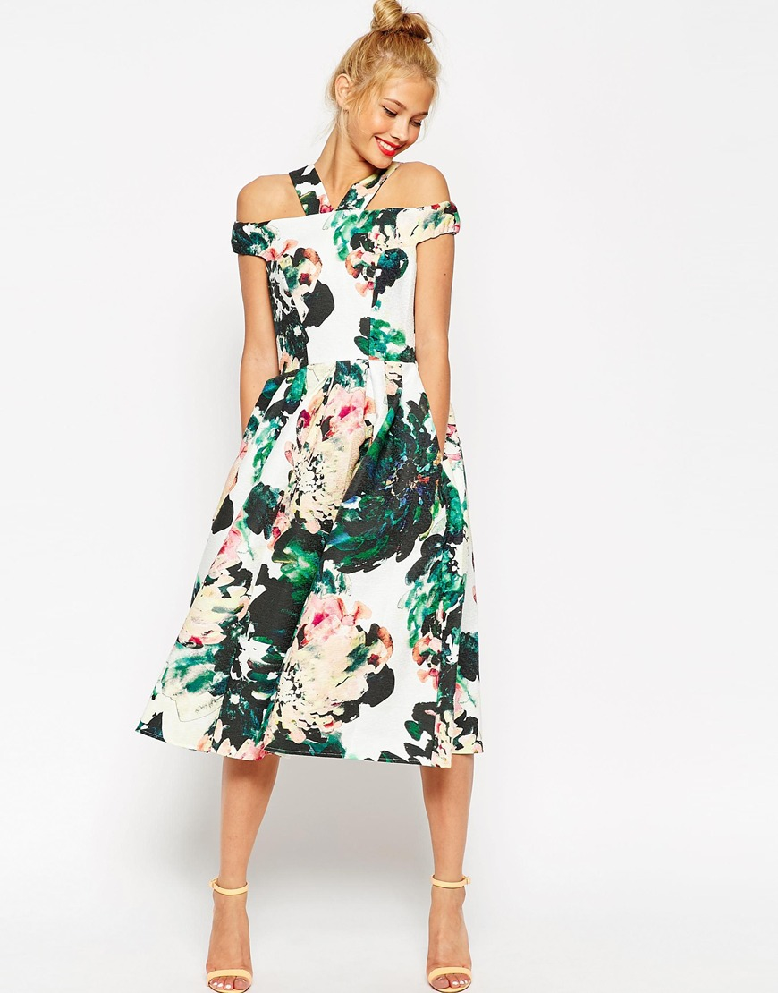 Lyst - Asos Midi Prom Dress In Large Bright Floral in Green