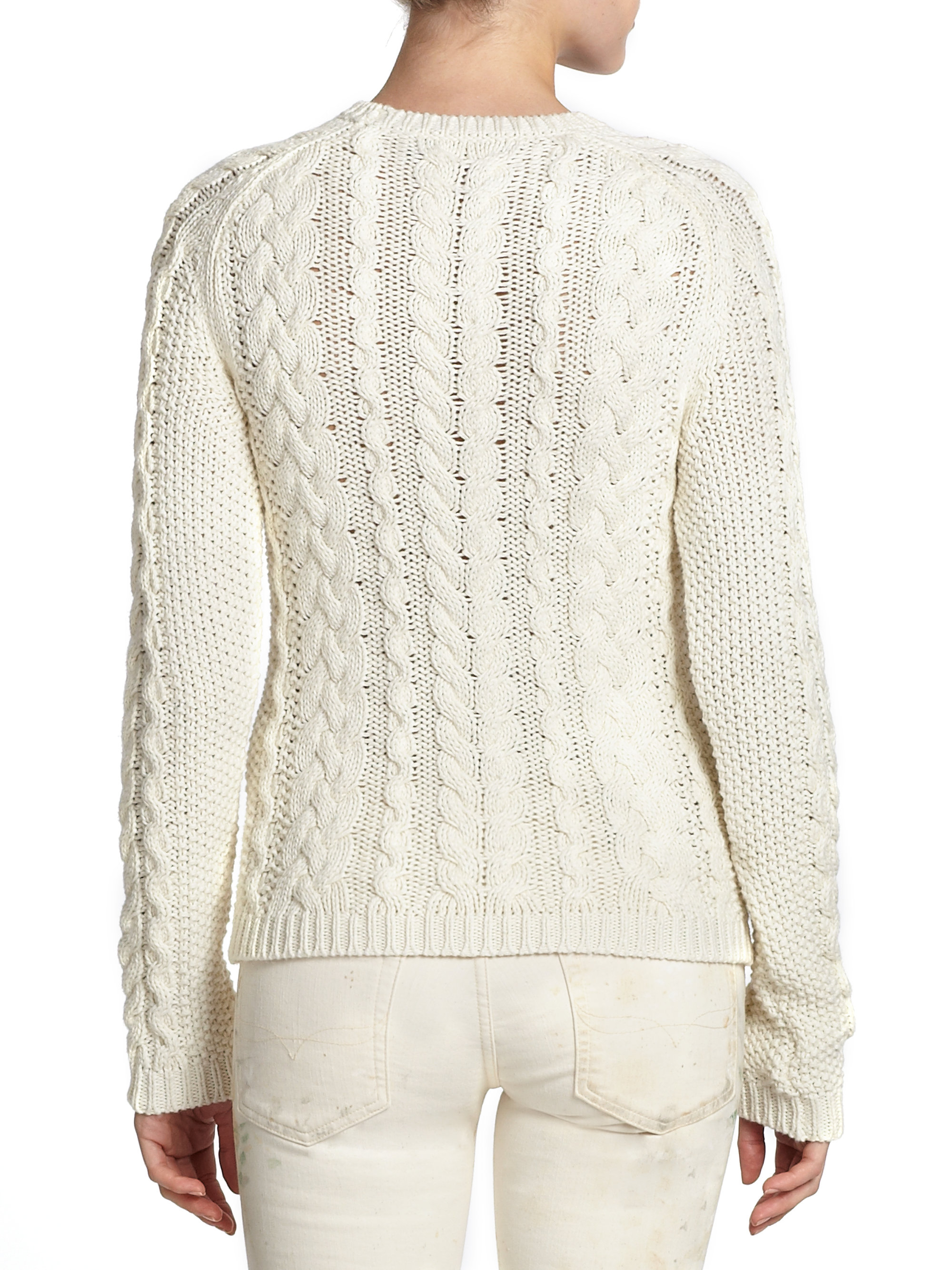 Lyst Polo Ralph Lauren Cotton Cable Knit Sweater In Natural