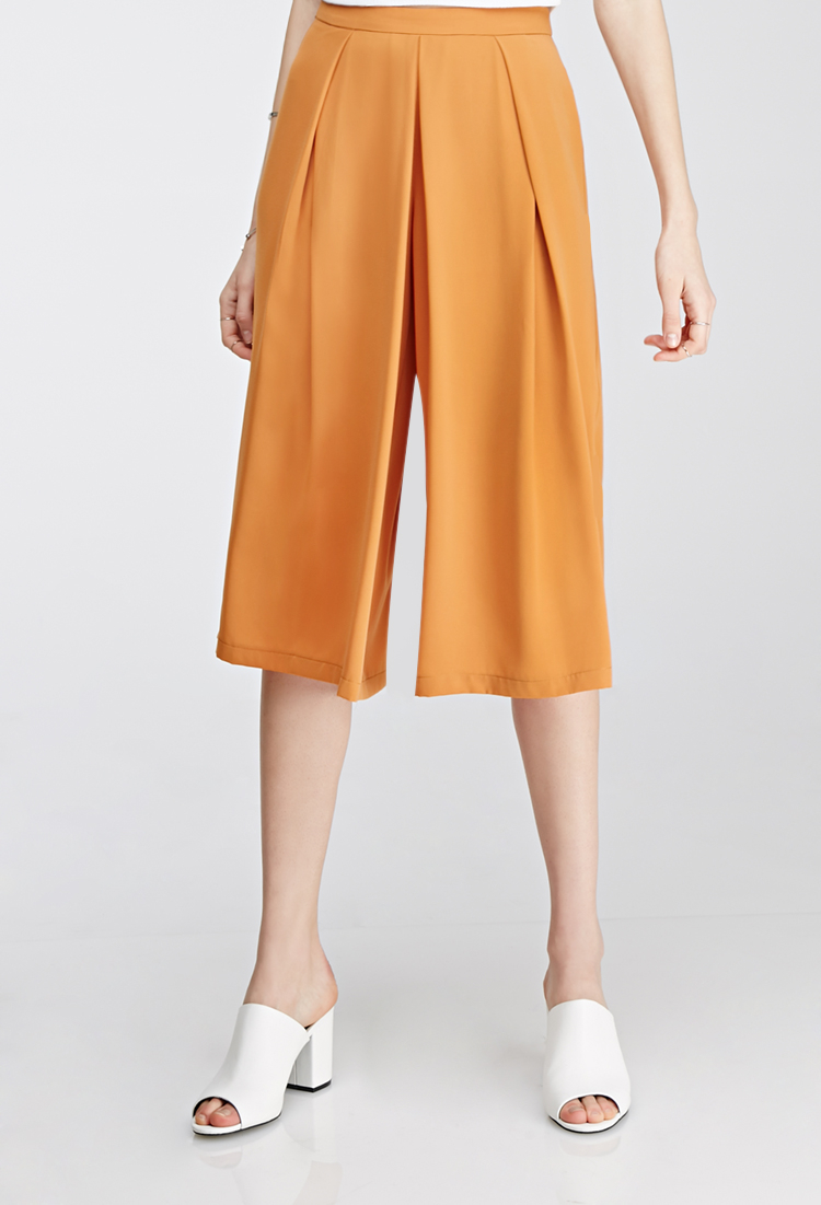 Lyst Forever 21 Pleated Gaucho Pants In Metallic