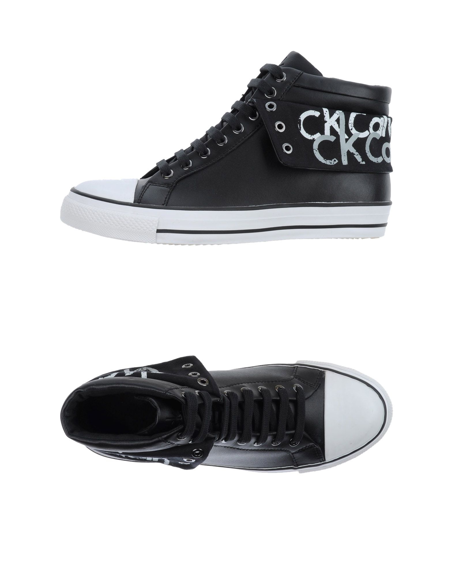 ck calvin klein high tops trainers in black for men lyst