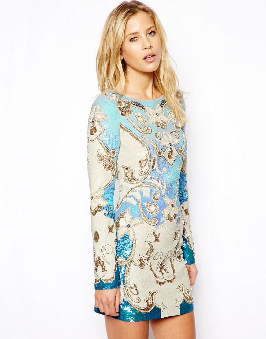8bb098c8af Needle   Thread Sundown Embellished Crepe Mini Dress in Blue - Lyst