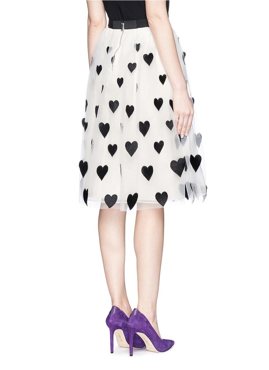 Alice   olivia 'catrina' Heart Appliqué Tulle Midi Skirt | Lyst