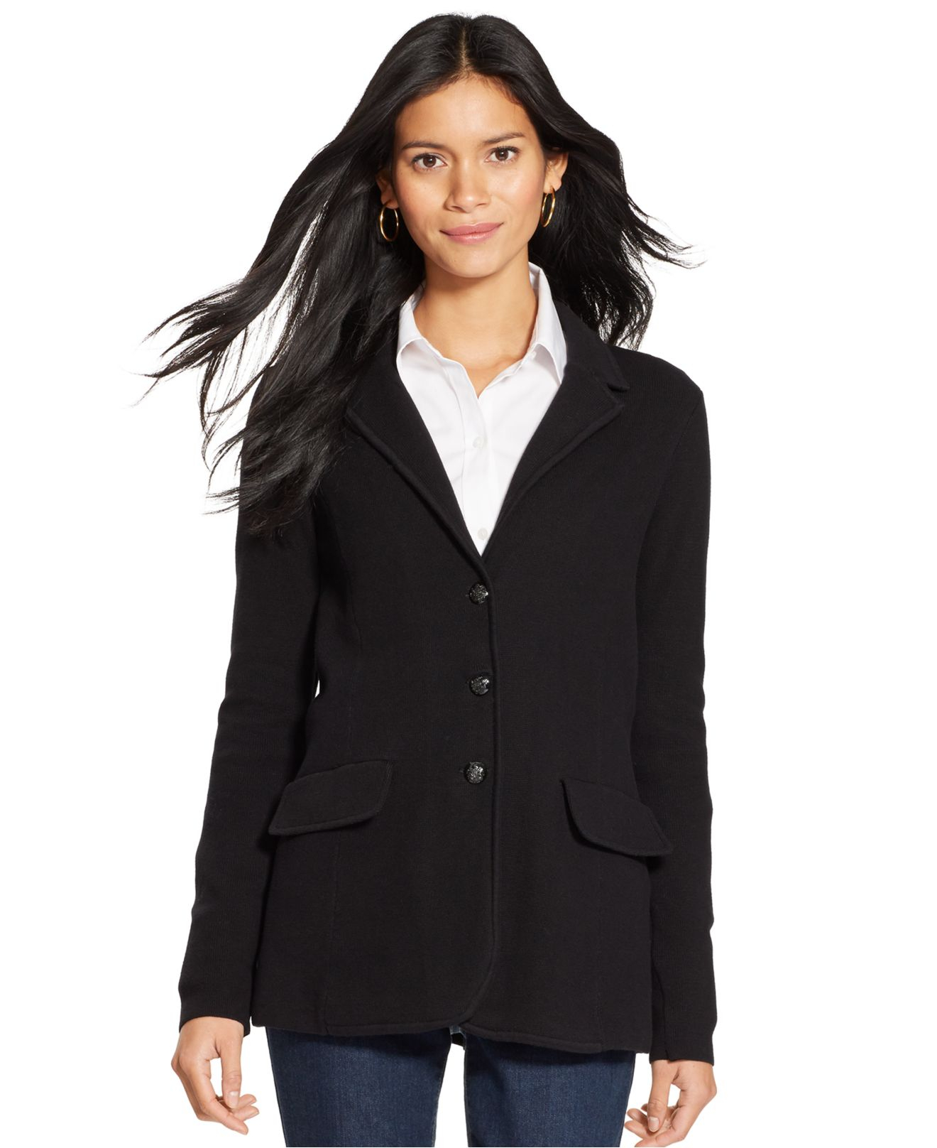 lauren by ralph lauren sweater blazer in black lyst. Black Bedroom Furniture Sets. Home Design Ideas