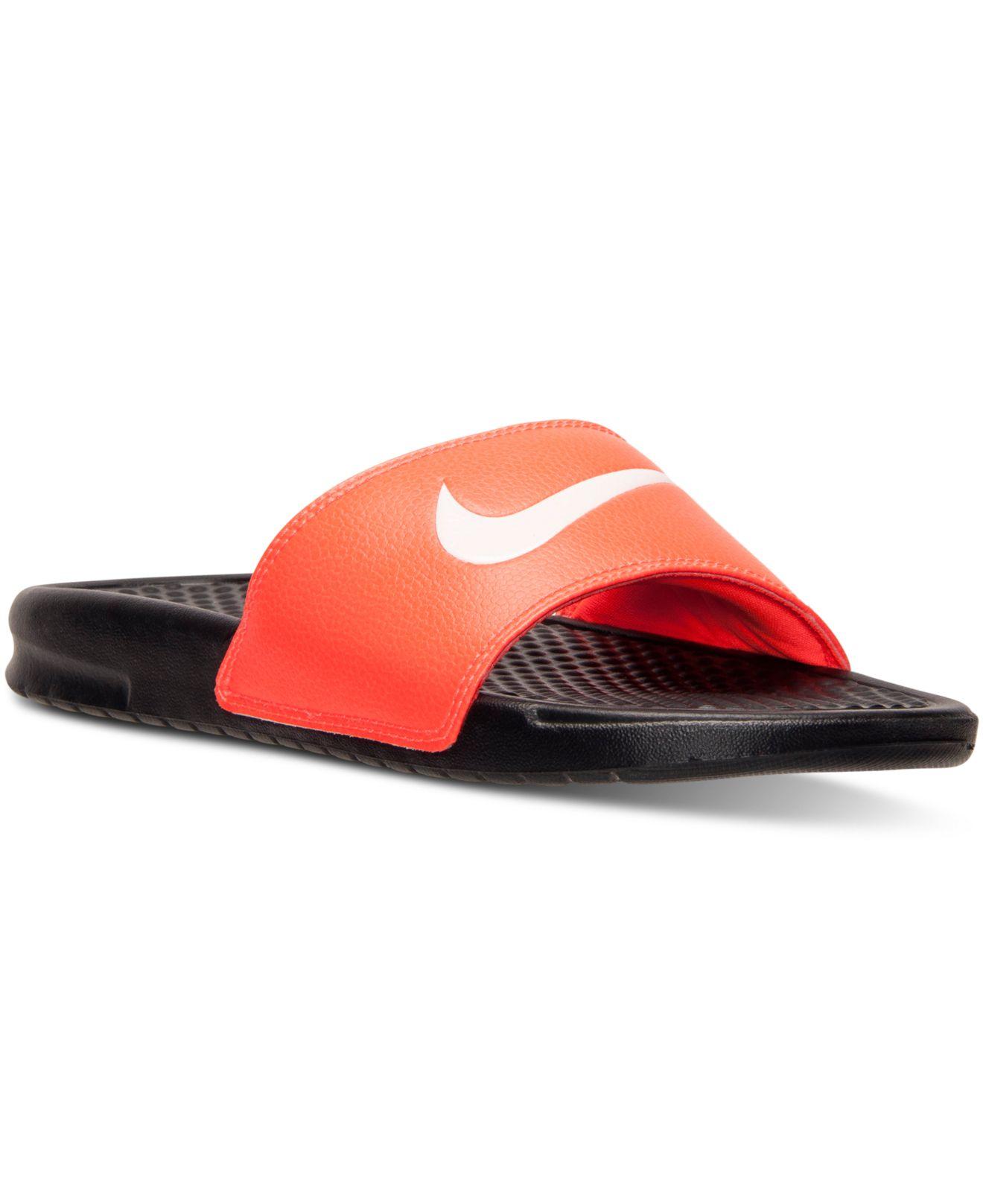 e4eacd30146053 Lyst - Nike Men s Benassi Swoosh Slide Sandals From Finish Line in ...