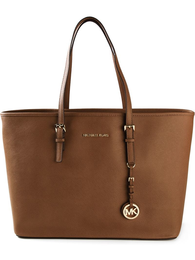 michael michael kors 39 jet set travel 39 tote in brown lyst. Black Bedroom Furniture Sets. Home Design Ideas