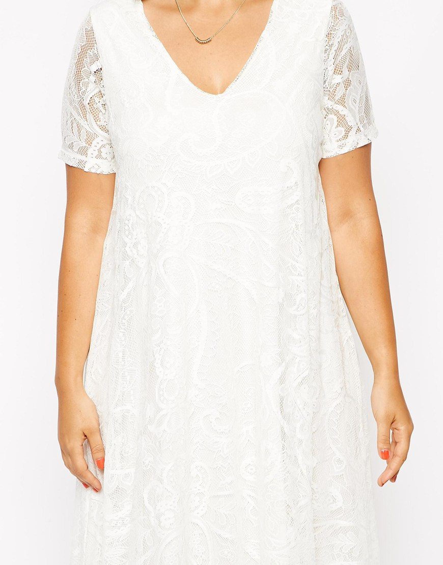 e76eaa43d0a2 ASOS Exclusive Swing Dress In Lace With Deep V In Longer Length in White -  Lyst