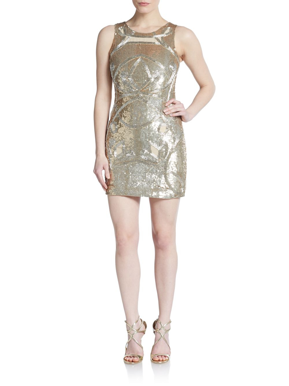 needle thread sheer paneled beaded dress in metallic lyst