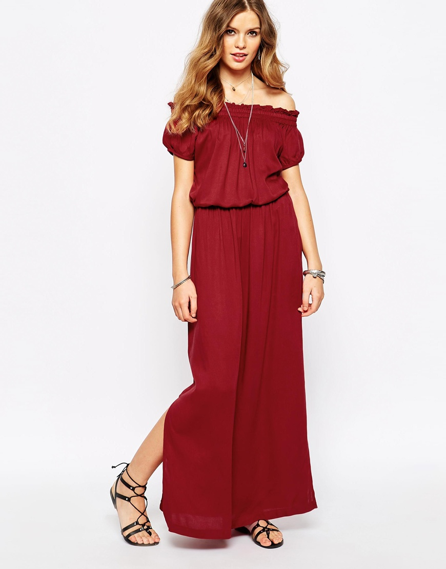 First & i Off The Shoulder 70's Maxi Dress in Brown | Lyst