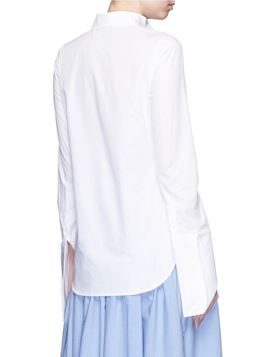 Rosie assoulin asymmetric french cuff chambray shirt in French cuff shirt women