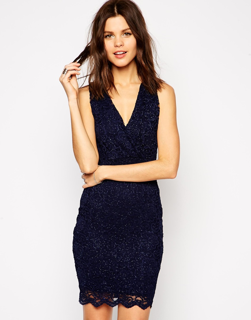Lipsy Michelle Keegan Loves Allover Sequin Body-Conscious Dress With Tie Back in Blue | Lyst