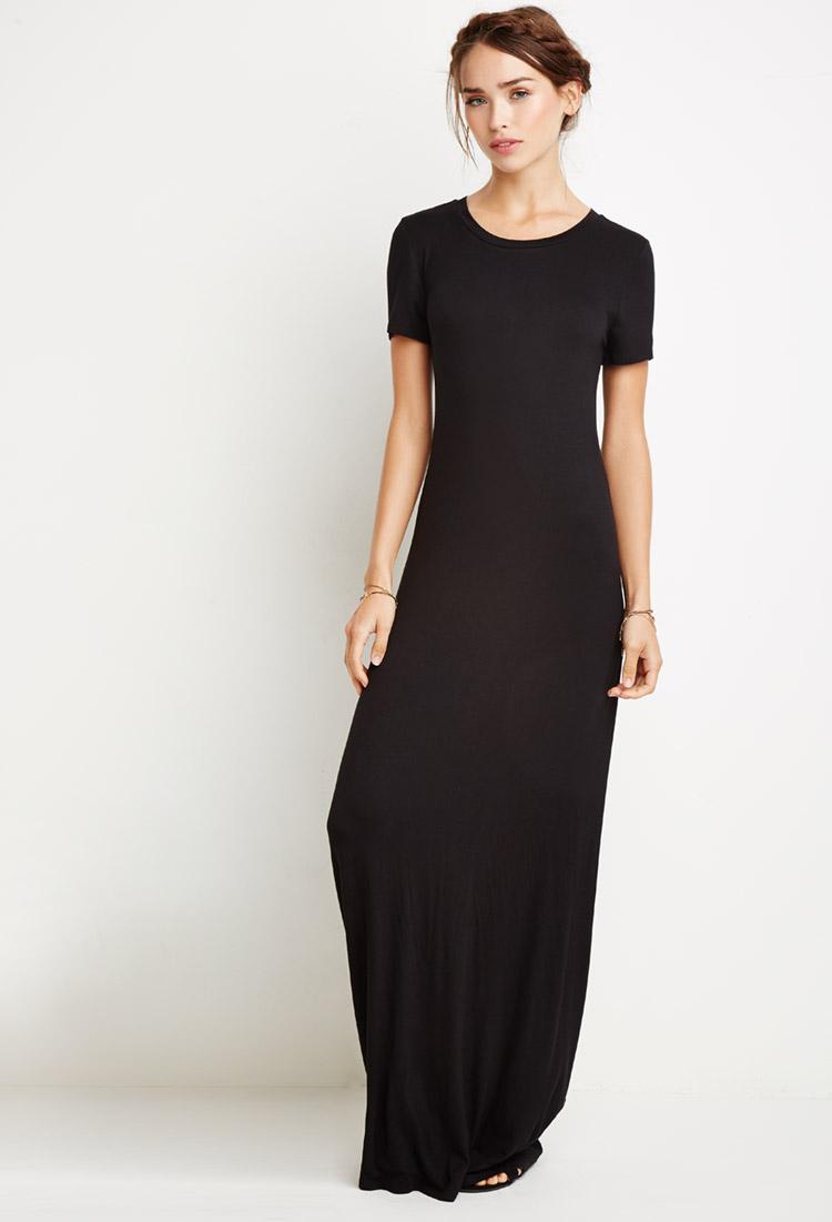 8d05a0fa6573b Long Sleeve Fitted Black Maxi Dress